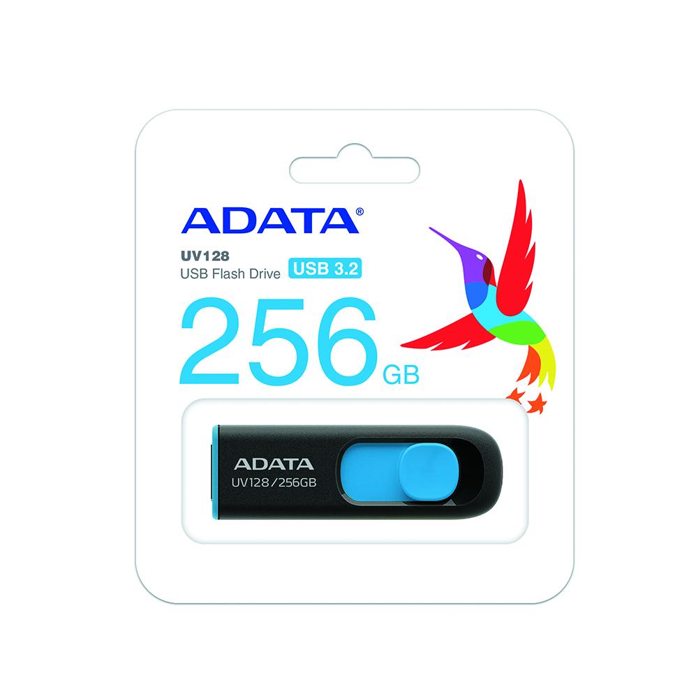 Pen Drive 256GB UV128 Azul/ Preto A-Data