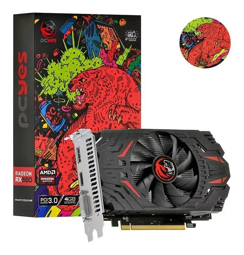 Placa De Video GPU AMD RX 550 4GB DDR5 128Bits Pc Yes