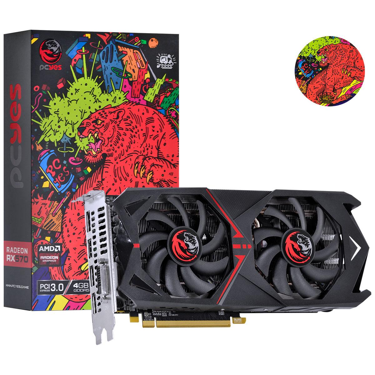 Placa de Video GPU RX 570 4GB 128Bits PC Yes