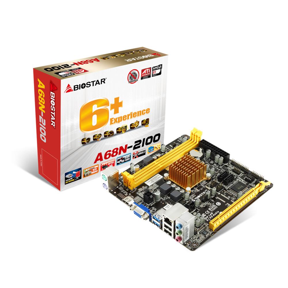 Placa mae Integrada  Bios Star + CPD Dual Core A68N-2100 AMD E12100 ITX