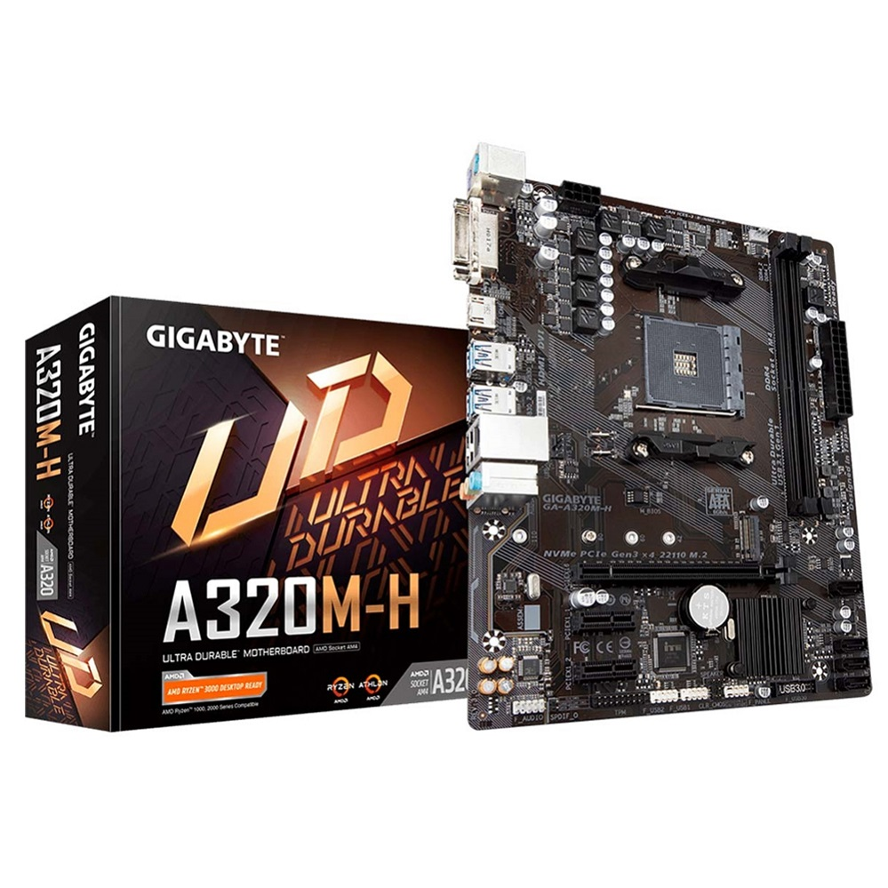 Placa Mae LGA AM4 A320M-H (DDR4/M-ATX/AM4/DVI-D/HDMI) Gigabyte
