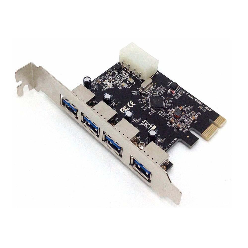 Placa PCI-E com 4 Saidas USB 3.0 5gbps Dex