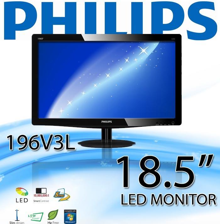Monitor 19p Led Philips 196v3l Slim 1366x768 Vga E Dvi Wide