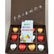 Caixa Chocolate  Friends 12 Corações Sortidos Presente Amigo