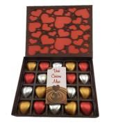 Caixa Chocolate Tema Coração com  20 corações recheados e sortidos