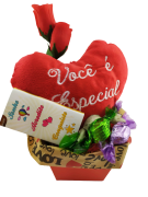 Cesta Coração Te Amo Pelúcia Rosa Presente Com Carinho