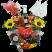 Cesta Premium Presente com Chocolates Variados, Espumante e Pelúcia