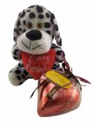 Kit Amor Coração de Chocolate Presente Pelúcia Pelúcia Fofa