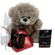 Kit aniversário coração de chocolate Pelúcia Barra Presente