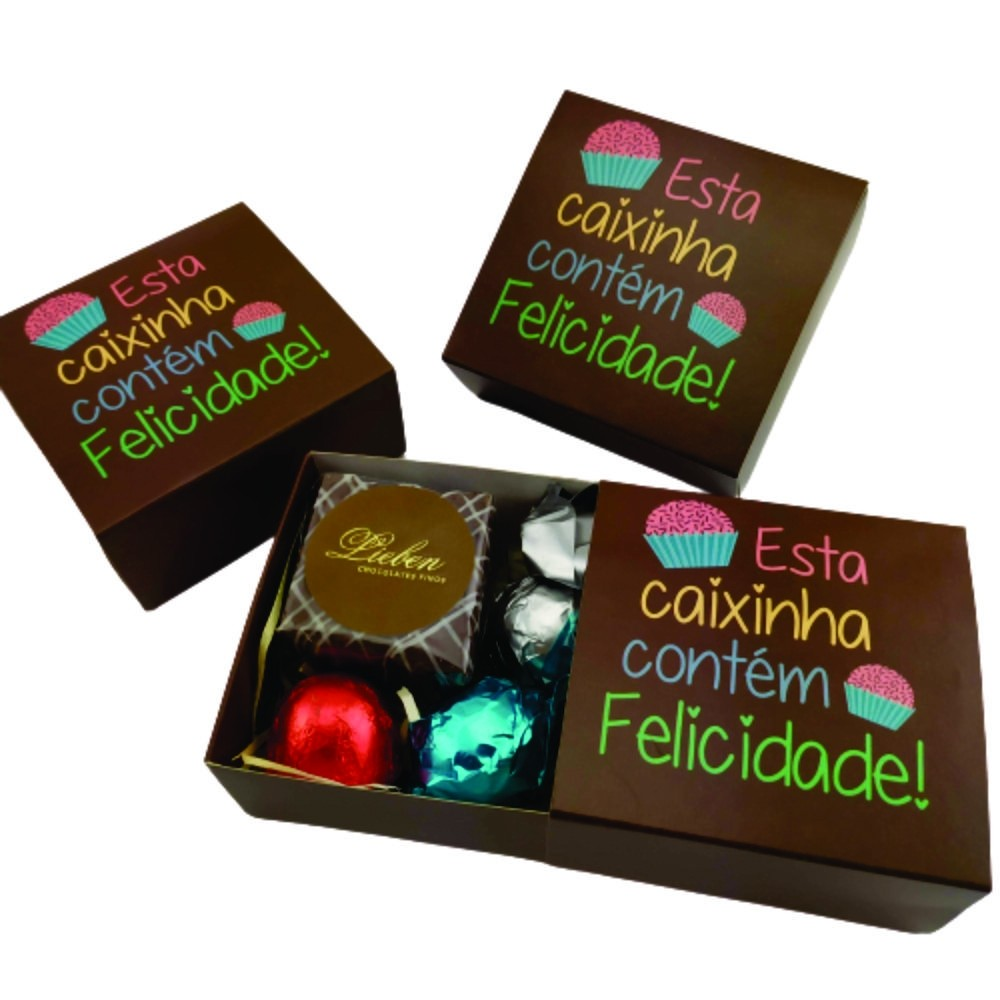 4 Caixas Felicidade Lembrancinha Chocolates Gourmet Presente