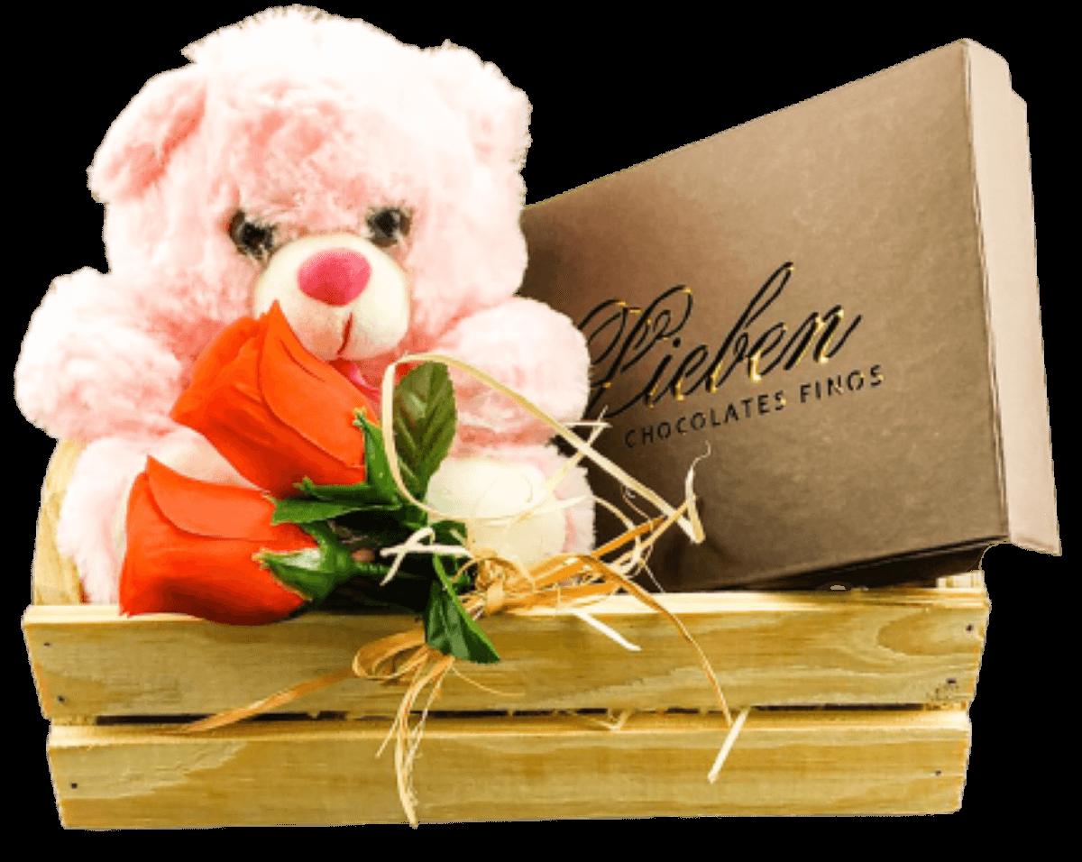 Cesta de Chocolate com Urso de Pelúcia para Presente