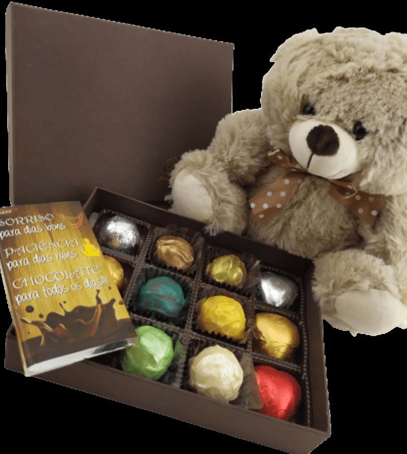 Caixa Chocolate Pelúcia Trufa Coração Presente Aniversário