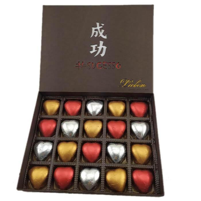 Caixa Chocolate Sucesso 20 Corações Presente Aniversário