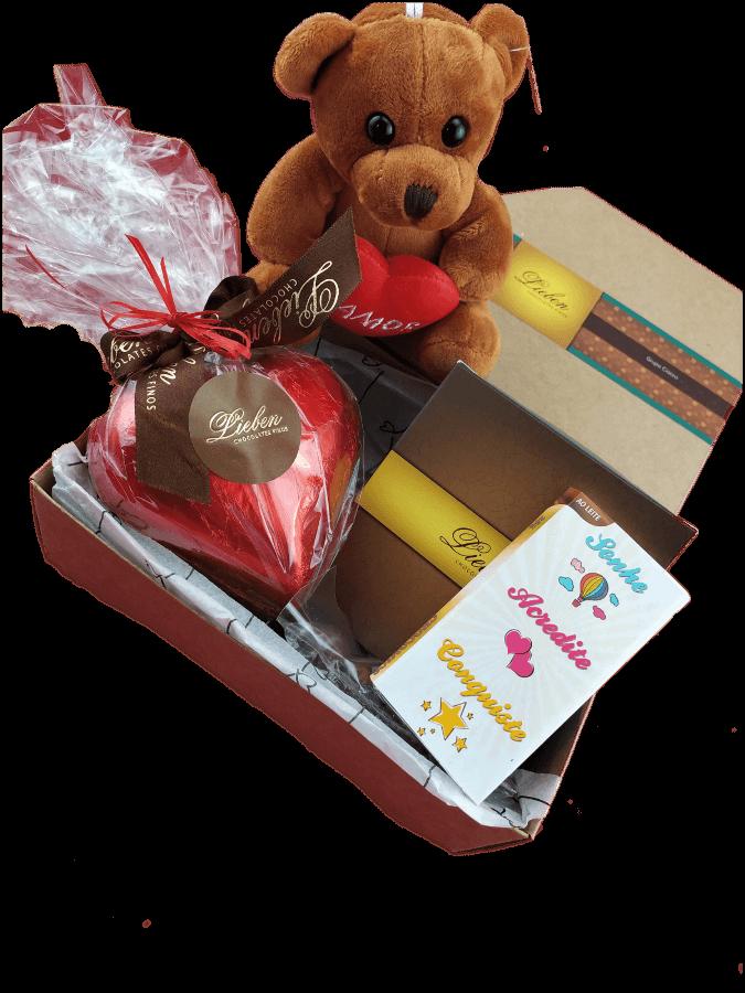 Caixa Chocolates Sortidos com doçura amor e Pelúcia