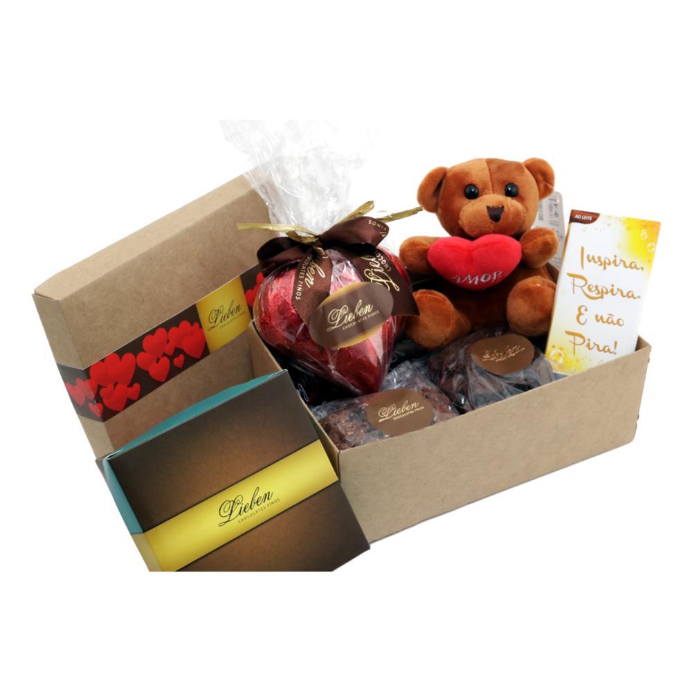 Caixa Chocolates Sortidos com doçura de amor e Pelúcia