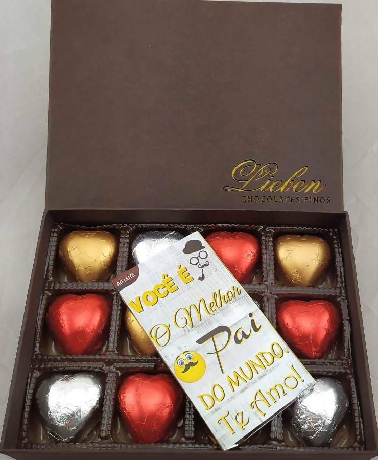 Caixa Chocolates Super Premium 12 Corações Presente Pai