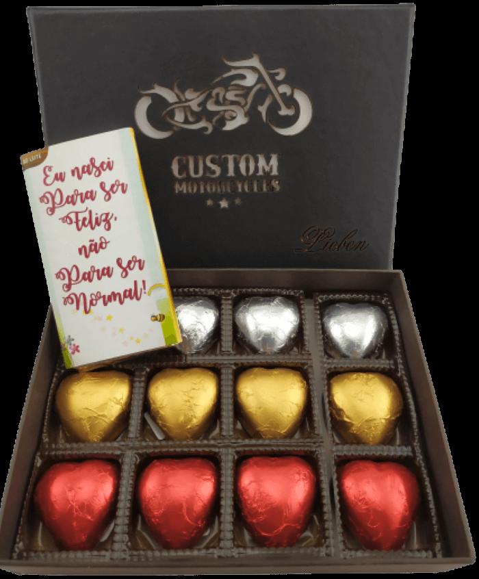 Caixa de Chocolate com Corações Recheados Presente Amigos