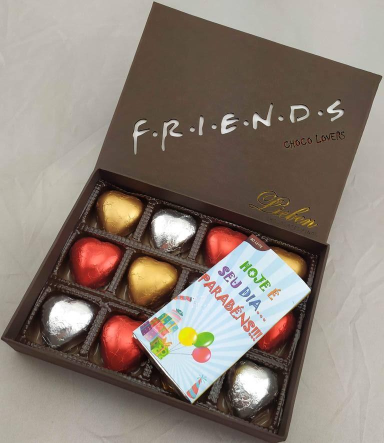 Caixa de Chocolate Presente Coração Parabéns Hoje é Seu Dia