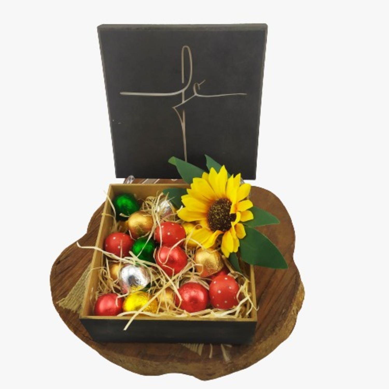 Caixa de Madeira Especial Fé Presente Chocolates Gourmet