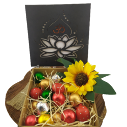 Caixa de Madeira Flor de Lotus Chocolates Gourmet Presente