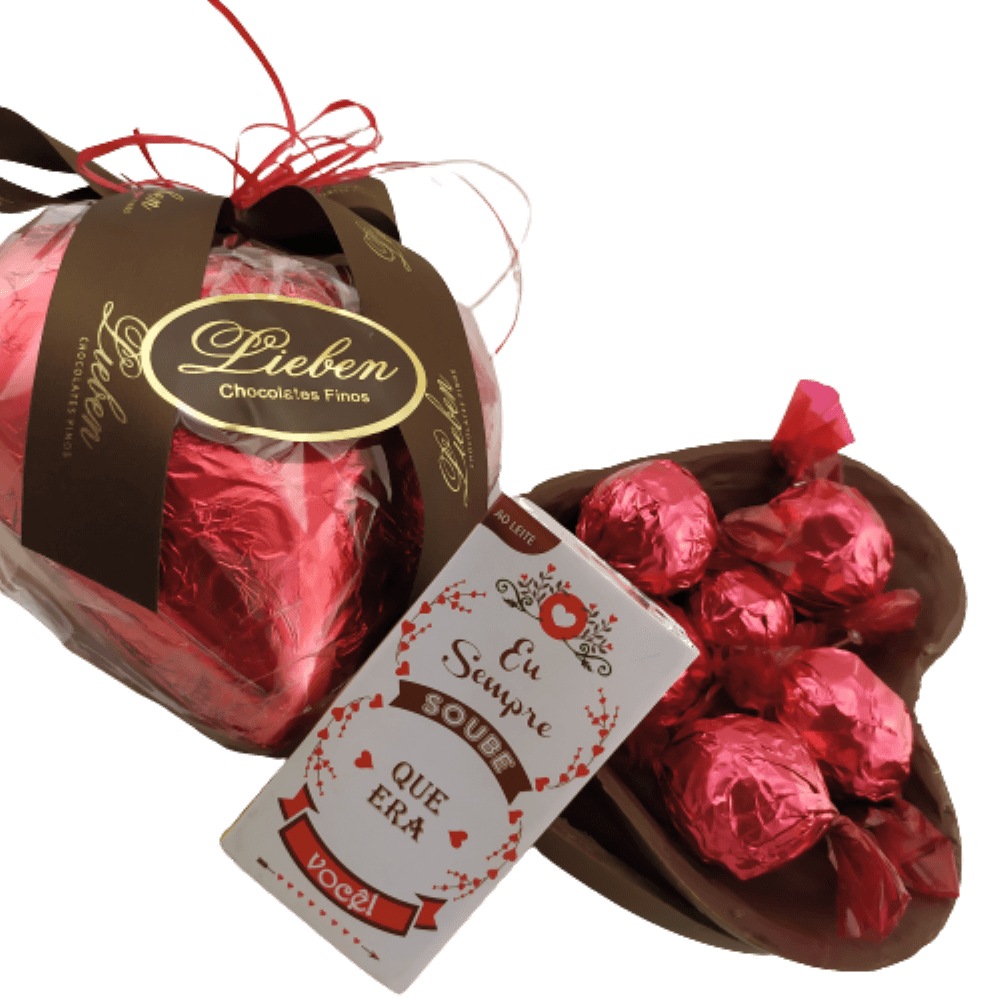 Caixa Super Premium Corações de Chocolate Trufado Presente  Premium Tema Namorados Eu Sempre Soube que Era Você