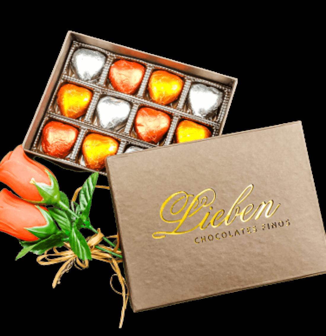 Caixote Chocolate Para Presente Flor Coração Dia das Mães