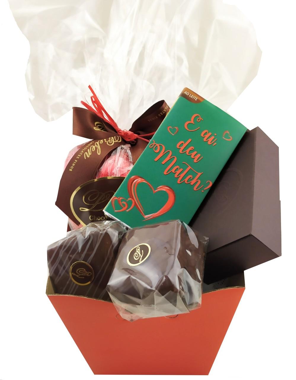 Cesta Chocolate Presente Graciosa Coração Paquera