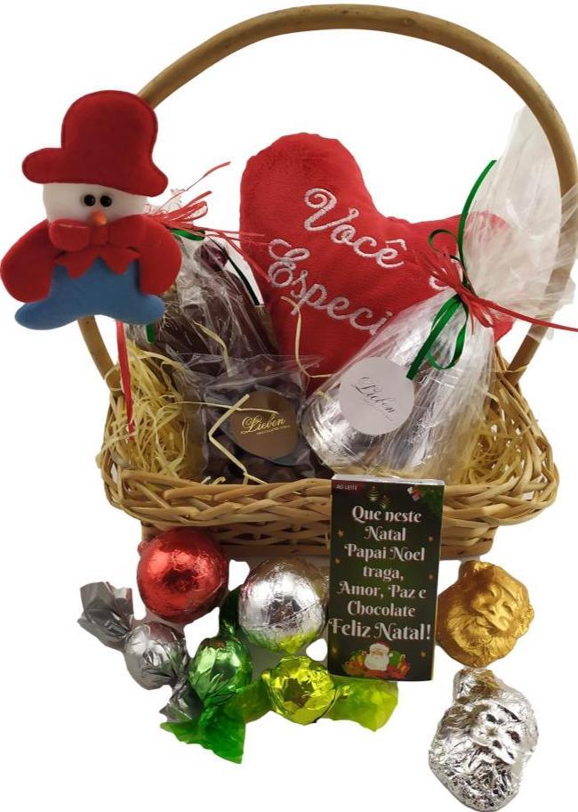 Cesta Coração Feliz Natal Você é Especial Presente Pelúcia