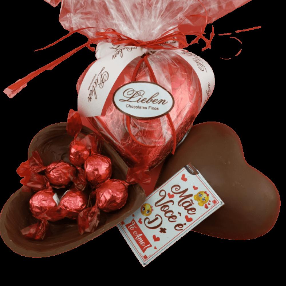 Cesta de Chocolate Para Presente Coração ao Leite Mãe e Avó