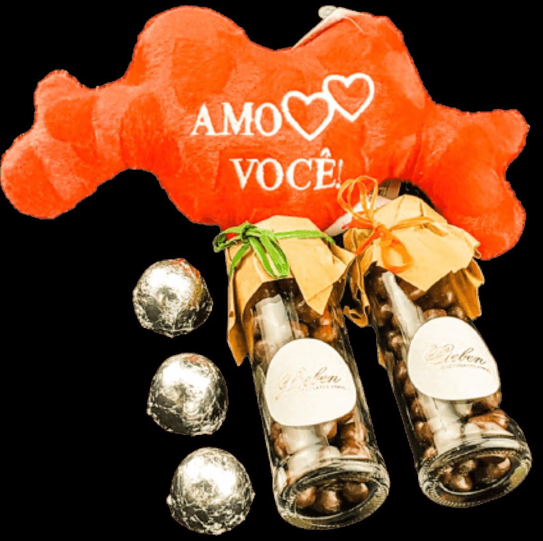 Chocolate Para Presente Dia dos Namorados Drágeas Marshmallow Pelúcia de Coração Você é Especial