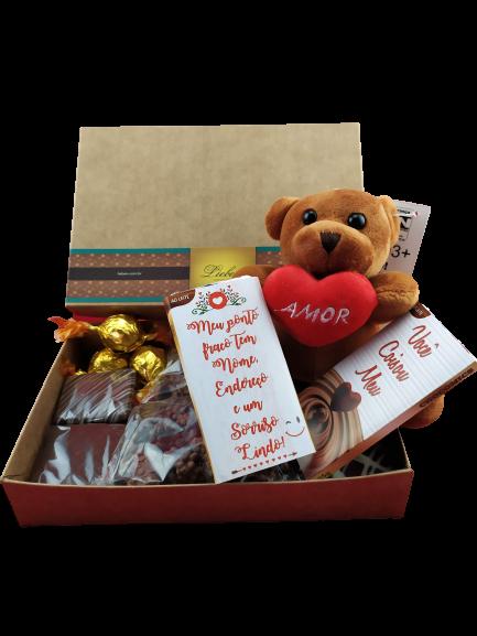 Chocolates Sortidos Com Pelúcia Amor Com Coração