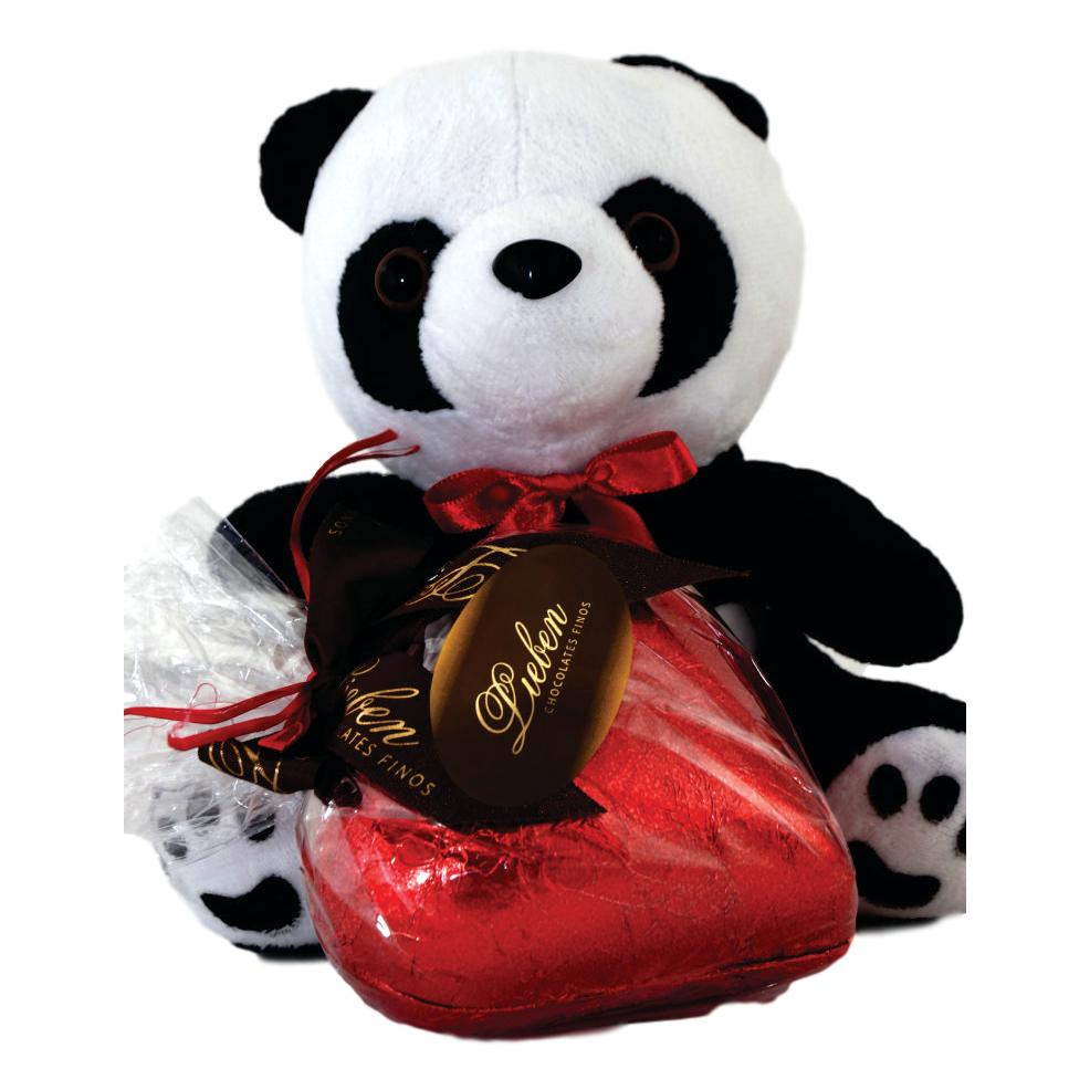 Kit Amor Coração de Chocolate Presente Pelúcia Pandinha Fofa