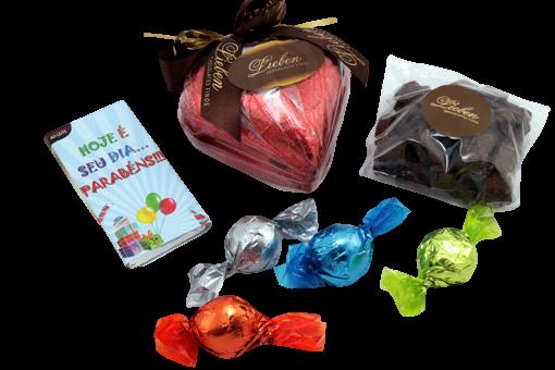 Kit Chocolate Sortidos Presente Pão de Mel Feliz Aniversário