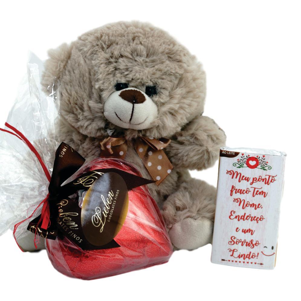Kit love coração de chocolate Pelúcia Barra Frase Presente