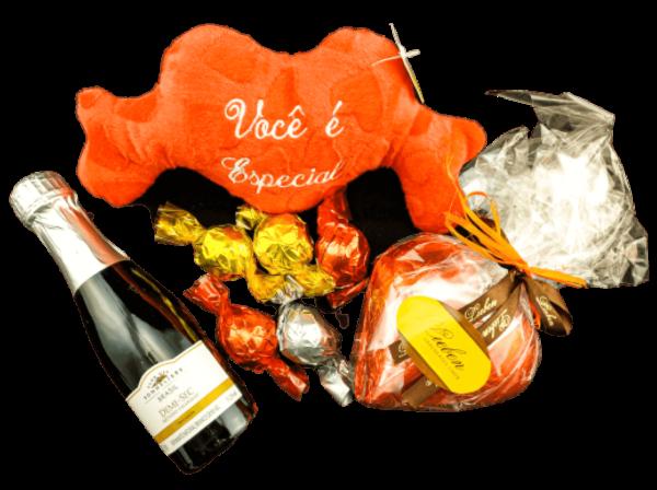Presente Amor Eterno Espumante Flor Coração Chocolates e Pelúcia - Parabéns Feliz Aniversário
