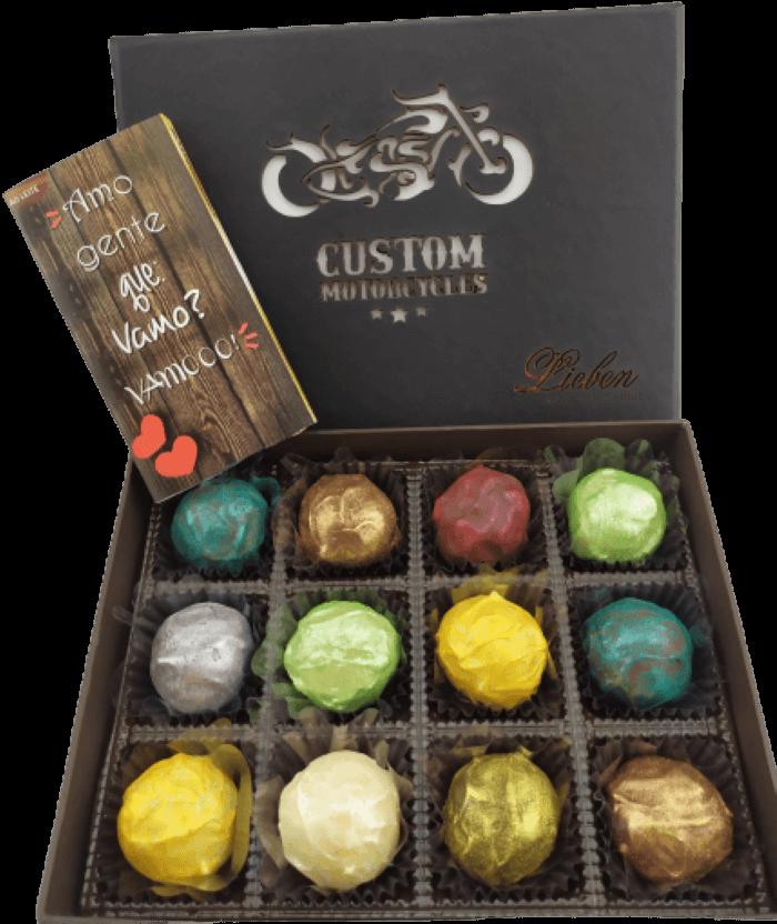 Trufa Gourmet Presente Chocolate Motociclista Aventura Amor