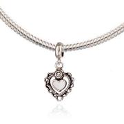 Berloque Coração com Resina Branca e Zircônia em Prata 925