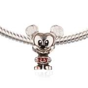 Berloque Mickey com Resina Vermelha em Prata 925
