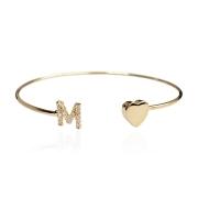 Bracelete Com Letra Cravejada e Coração