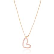 Colar Coração com Zircônias Rosa 40cm + Extensor