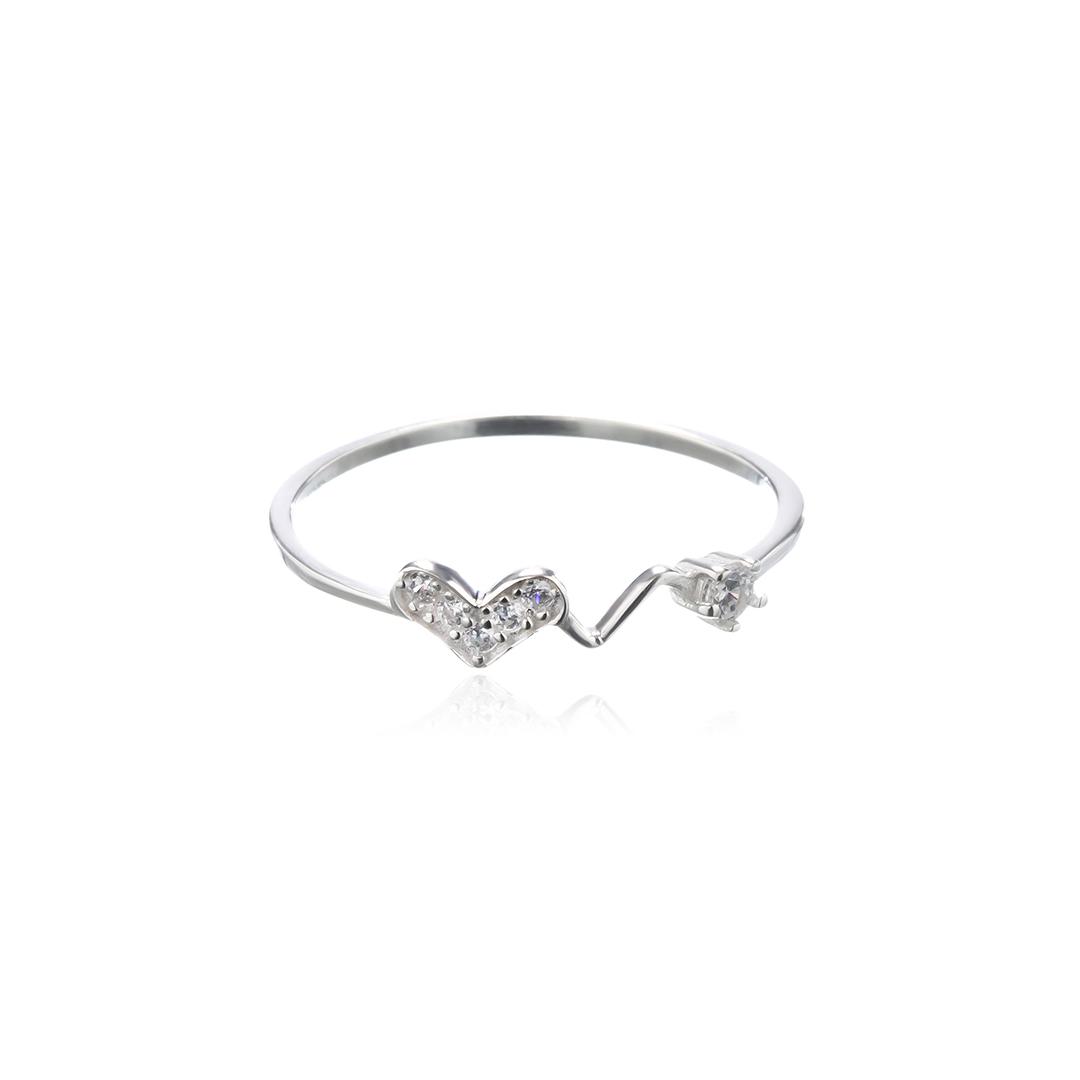 Anel Coração com Pedra Cristal em Prata 925