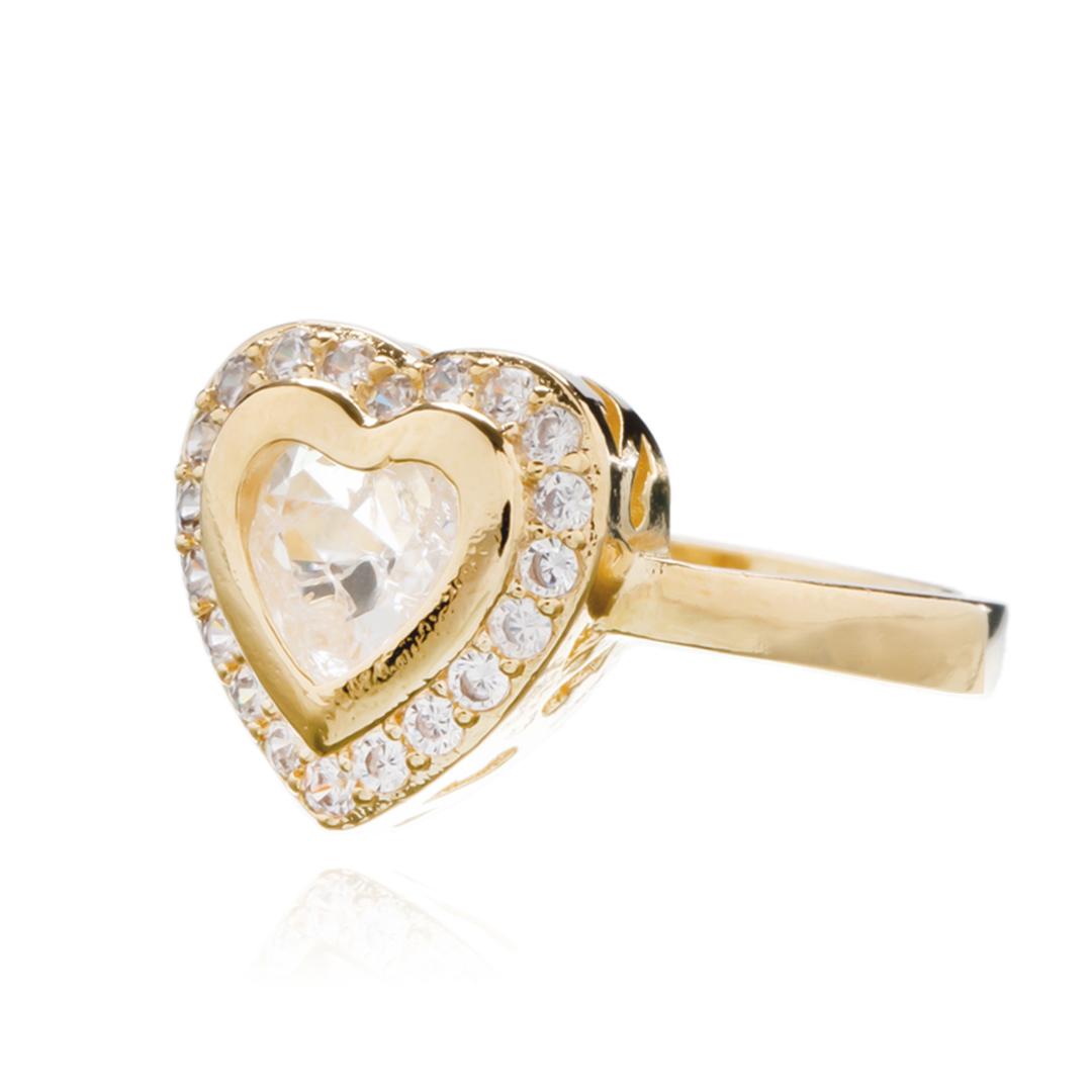 Anel Coração Cristal Com Zircônias