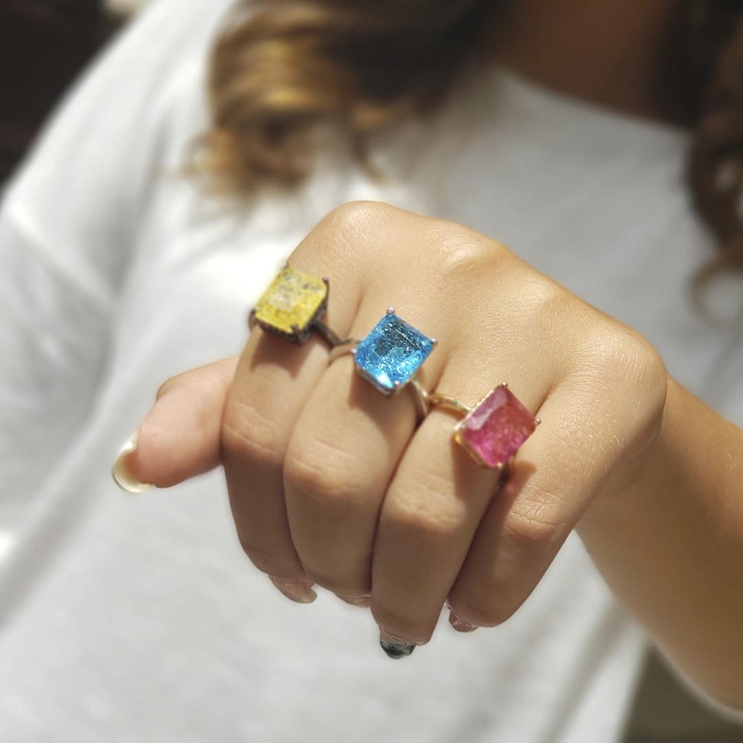 Anel Pedra Cristal com Zircônias