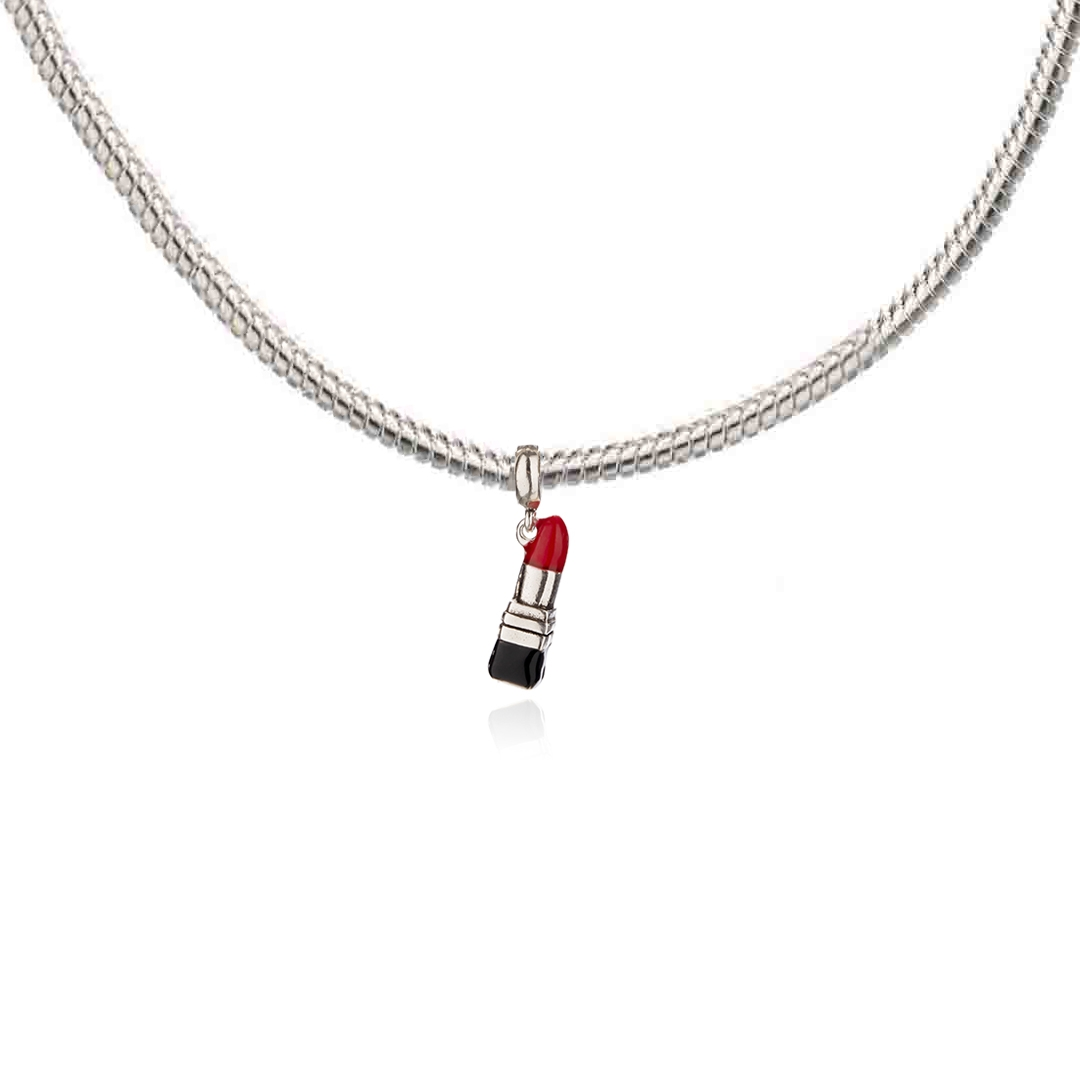 Berloque Batom com Resina Vermelha e Preta em Prata 925