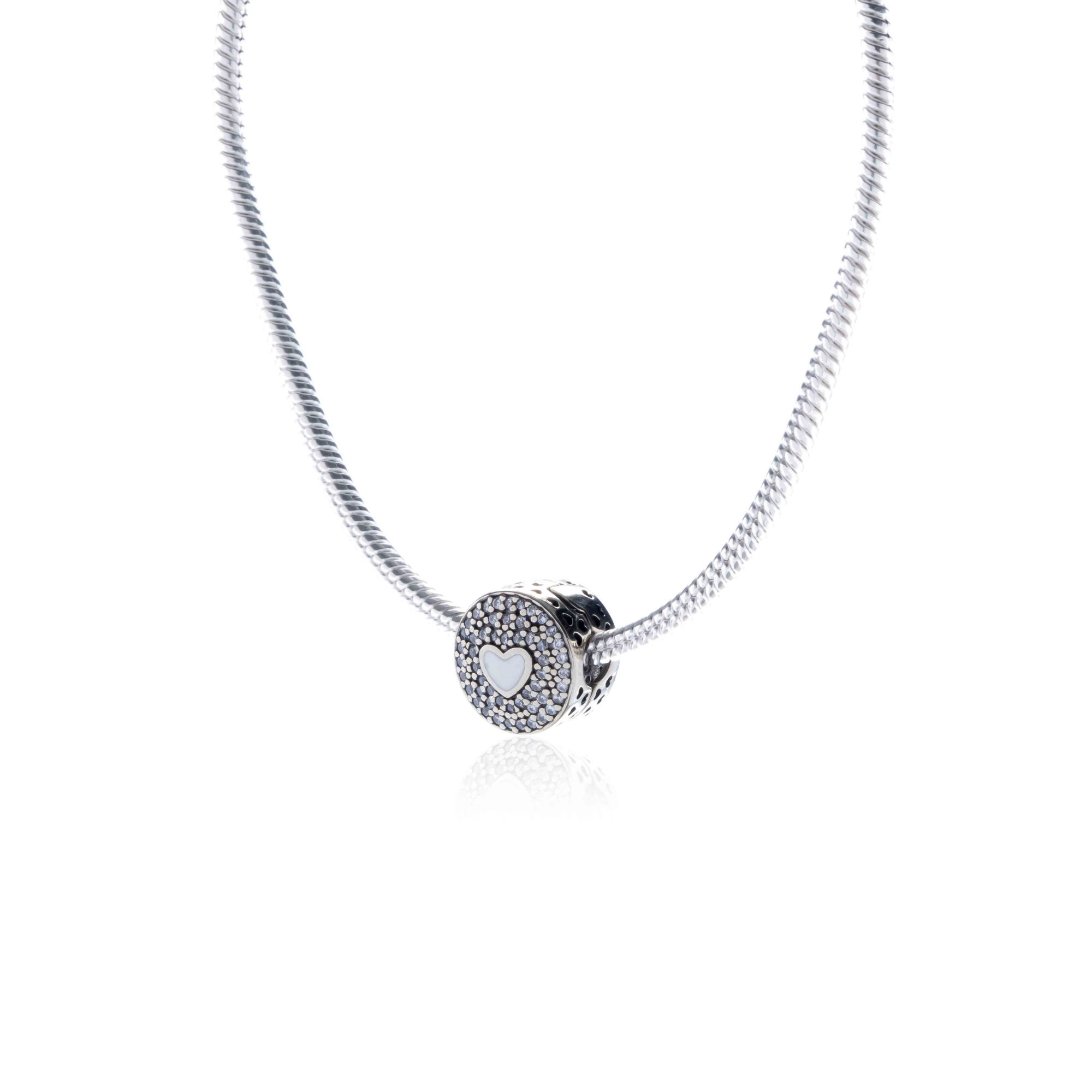 Berloque Coração com Resina Branca e Zircônias em Prata 925