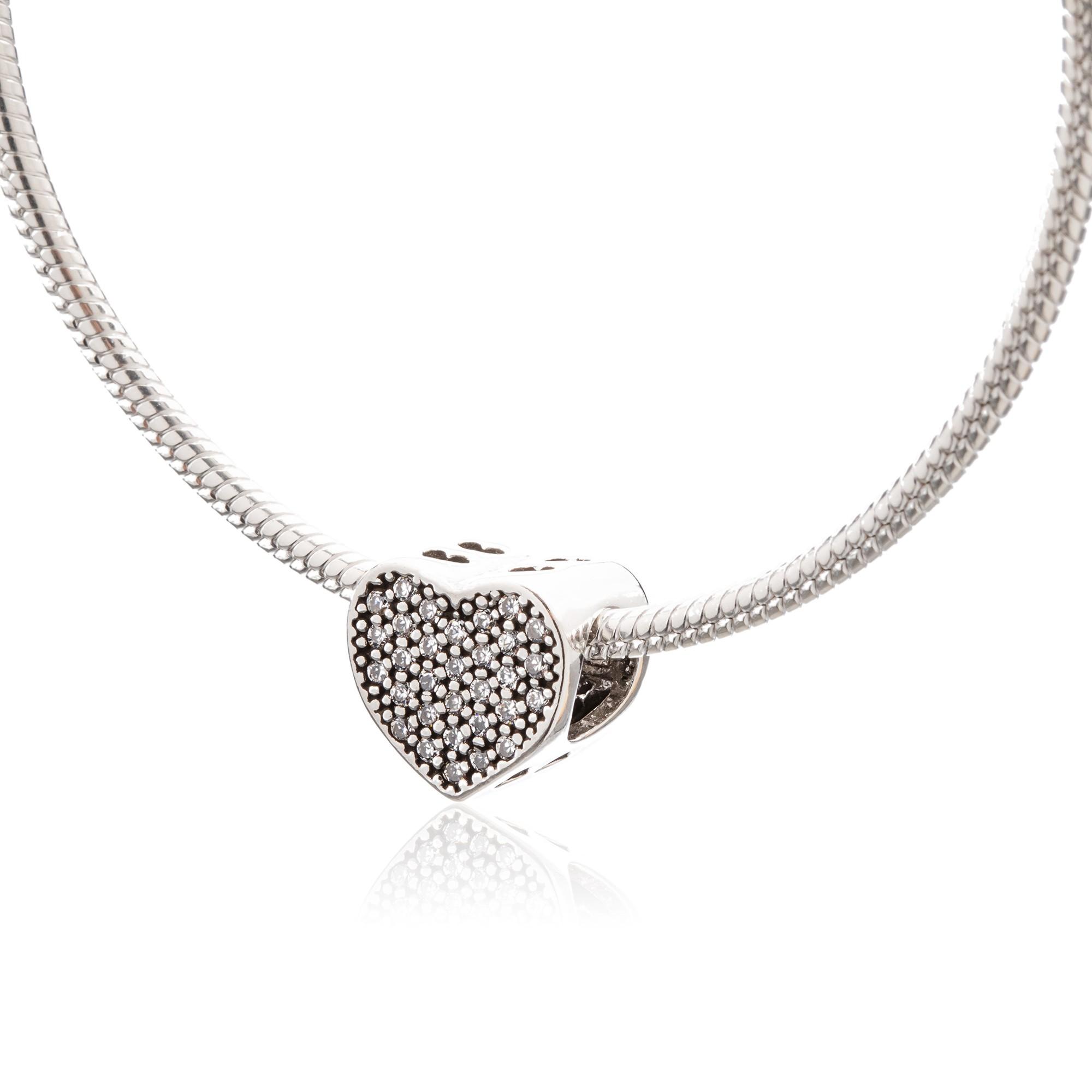 Berloque Coração com Zircônias em Prata 925