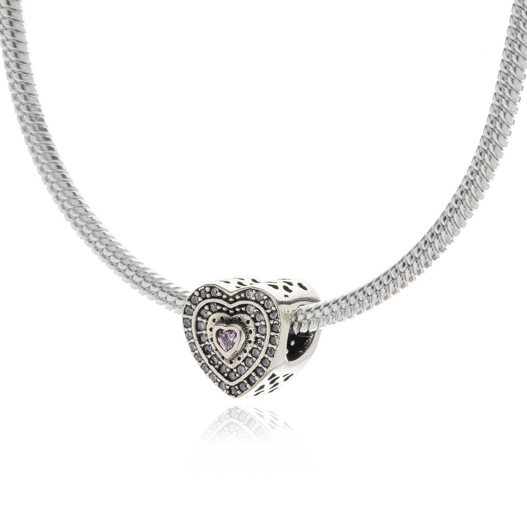 Berloque Coração com Zircônias Rosa em Prata 925