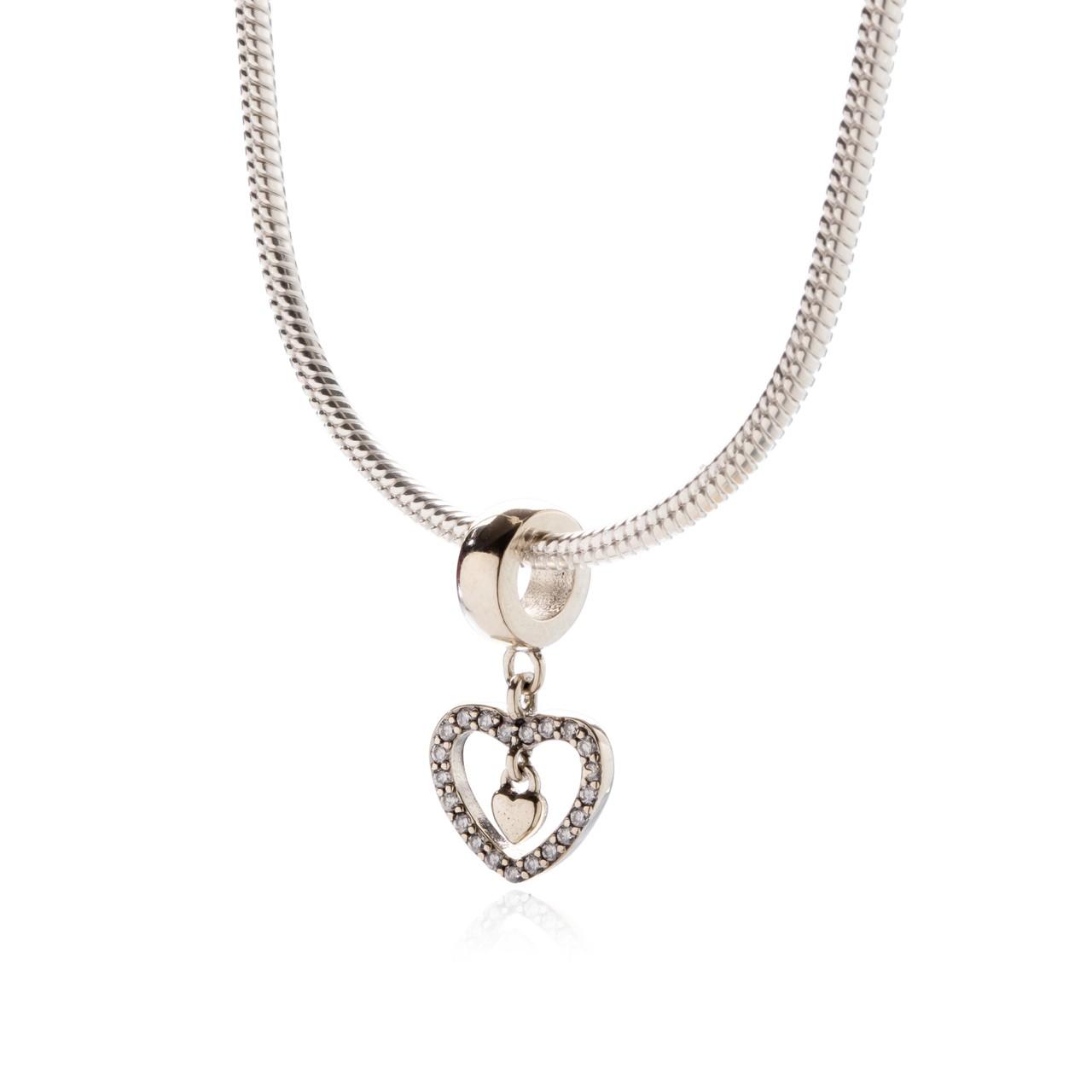 Berloque Coração Zircônias Cristal Prata 925
