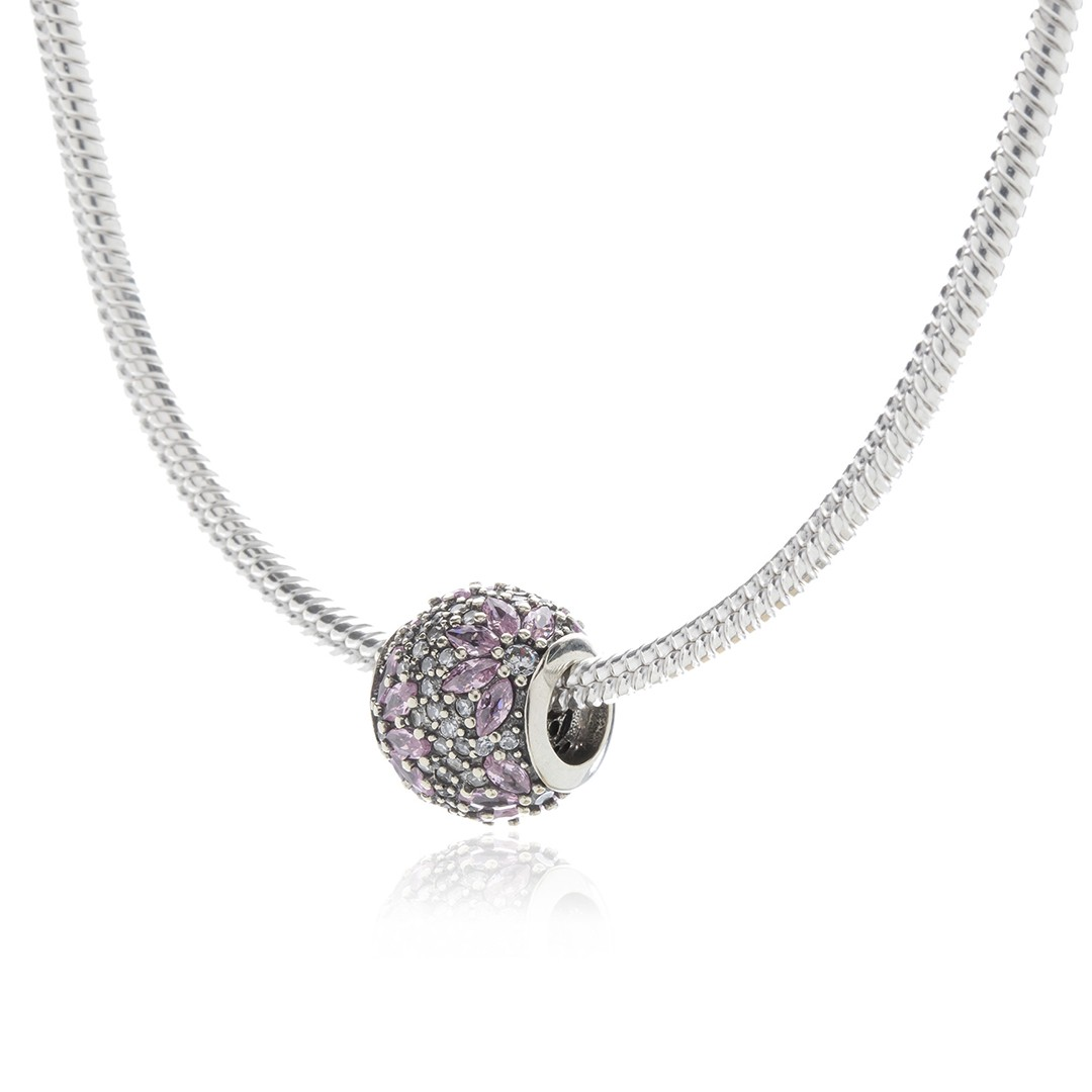 Berloque Flores Rosa em Prata 925