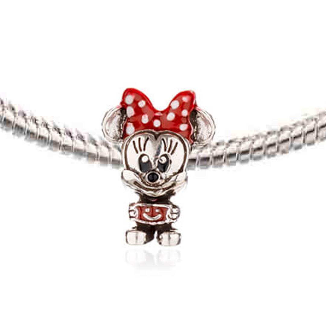 Berloque Minnie com Resina Vermelha em Prata 925